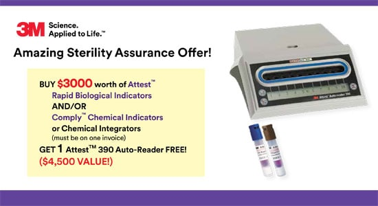 BUY $3000 worth of Attest Rapid Biological Indicators AND/OR Comply Chemical Indicators or Chemical Integrators (must be on one invoice) GET 1 AttestTM 390 Auto-Reader FREE!