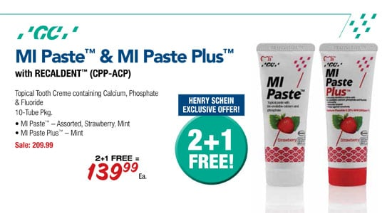 GC America - MI Paste & MI Paste Plus with Recaldent (CPP-ACP) - Henry Schein Exclusive Offer - 2 + 1 FREE!